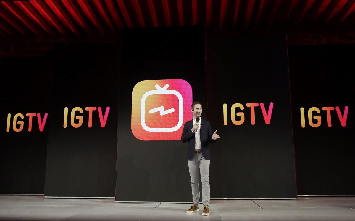Kevin Systrom announcing IGTV on Instagram TV launch event.