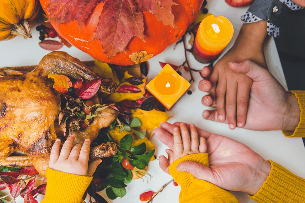Family having Turkey on Thanksgiving Feast