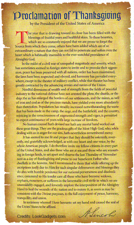 Proclamation of Thanksgiving by Abraham Lincoln