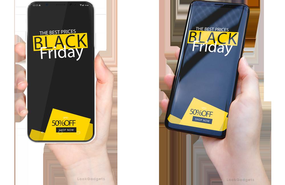 women holding Smartphones on Black Friday Sale