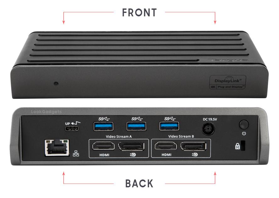 Targus DV4K Ports - Front and Back